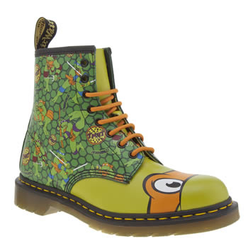 Mens Dr Martens Green Ninja Turtles Michelangelo Boots