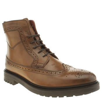 Base London Tan Industrial Brogue Boots