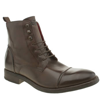 Mens Base London Dark Brown Park Cap Boots