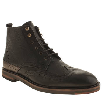 H By Hudson Black Tapton Brogue Boots