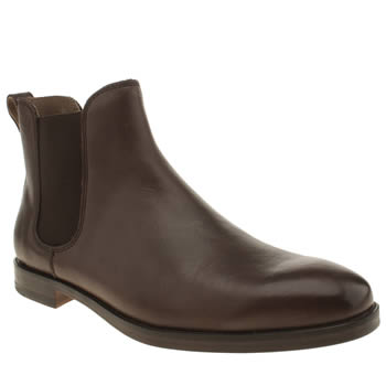 Mens Polo Ralph Lauren Dark Brown Dillian Chelsea Leather Boots