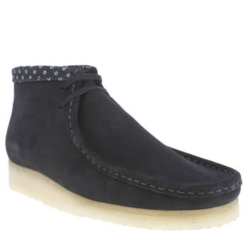 Mens Clarks Originals Navy Wallabee Boots