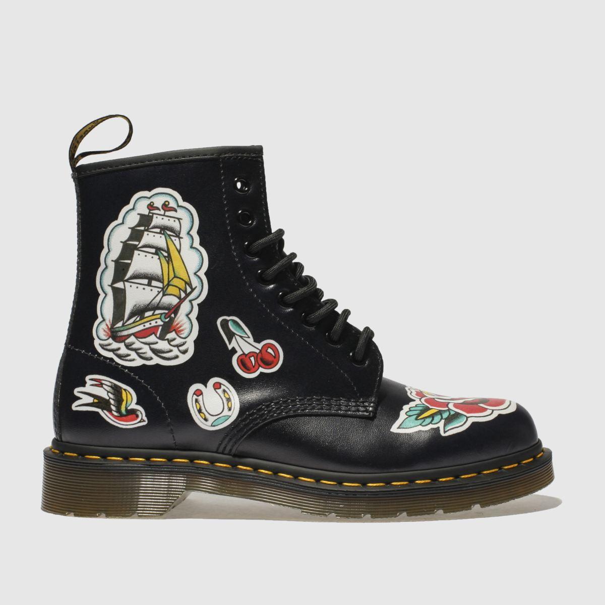 Dr Martens Black & Red 1460 Chris Lambert 8 Eye Boots