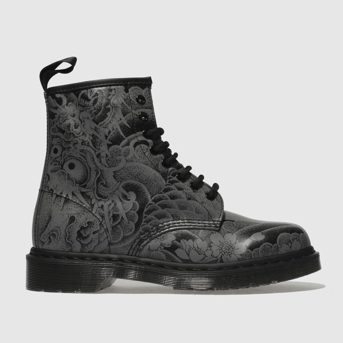 Dr Martens Black & Grey 1460 Ot Tattoo Backhand 8-eye Boots