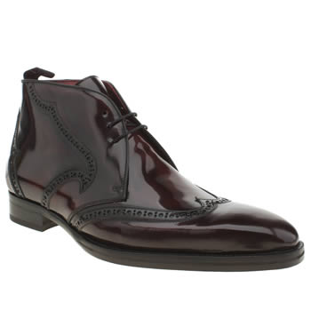 Mens Jeffery West Burgundy Capone Brogue Boots