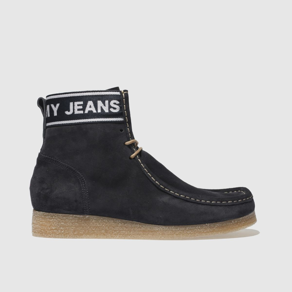 Tommy Hilfiger Navy Crepe Outsole Suede Wallaby Boots