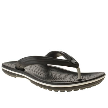 Mens Crocs Black & White Crocband Flip Sandals