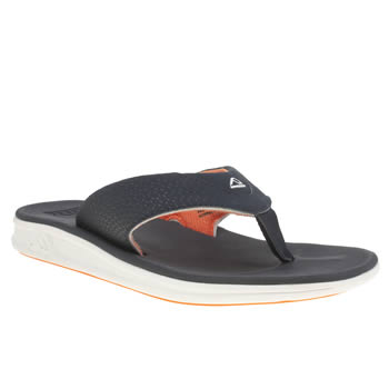 Mens Reef Navy & Orange Rover Sandals