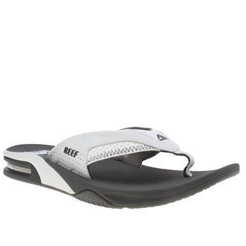 Mens Reef White & grey Fanning Sandals