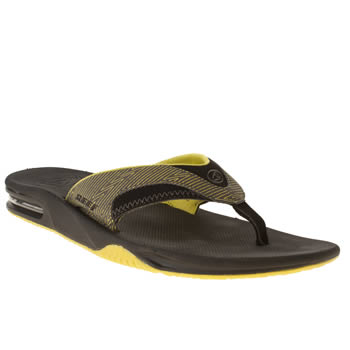 mens reef black fanning prints sandals