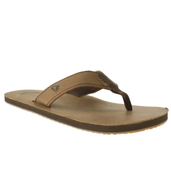 Mens Reef Brown Leather Smoothy Sandals