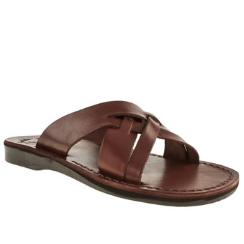 Mens Jerusalem Brown Jesse X Strap Sandals
