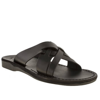 Mens Jerusalem Black Jesse X Strap Sandals