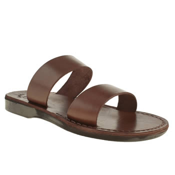 Jerusalem Brown Aviv Strap Mule Sandals