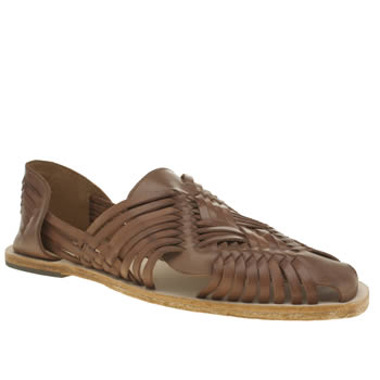 H By Hudson Tan Bonita Weave Slip On Sandals