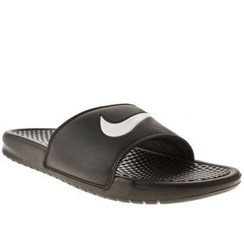 mens nike black & white benassi swoosh sandals