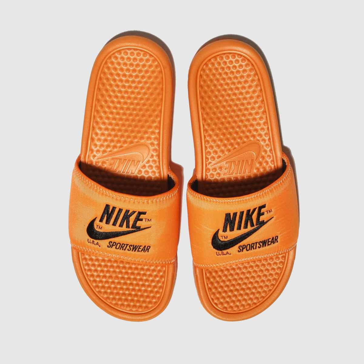 Nike Orange Benassi Slide Sandals