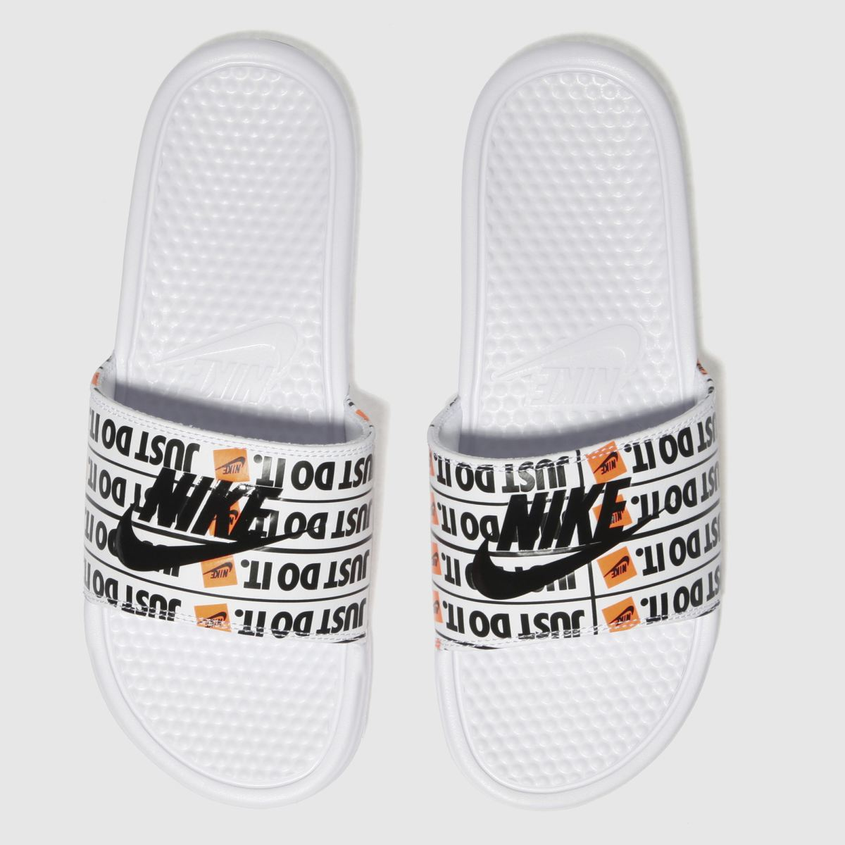 Nike White & Orange Benassi Slide Sandals