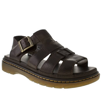 mens dr martens dark brown revive twohill sandals