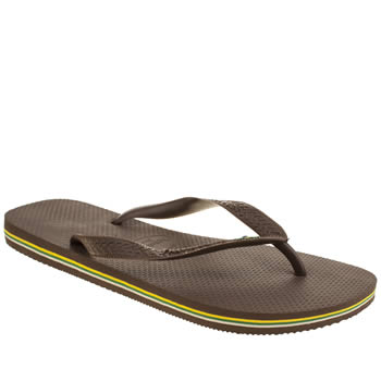 Mens Havaianas Dark Brown Brasil Logo Sandals