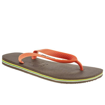 mens havaianas brown & orange brasil logo sandals