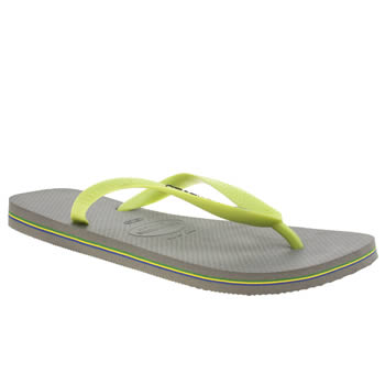 Mens Havaianas Grey & Lime Brasil Logo Sandals