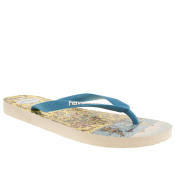 Mens Havaianas White & Blue Wally Sandals