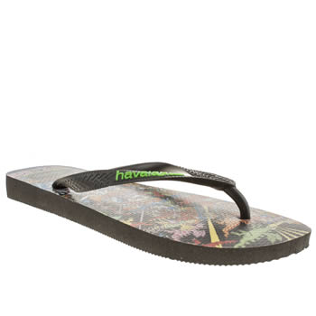 mens havaianas black & green wally sandals