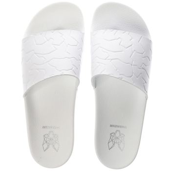 Momentum White Mom Sol Slide Emboss Sandals