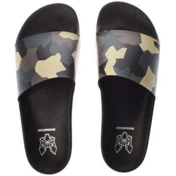 Momentum Black & Green Sol Slide Print Sandals