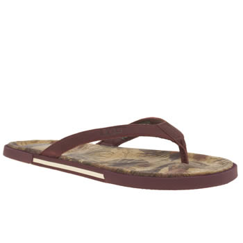 Ugg Australia Red Bennison Ii Hawaiian Cork Mens Sandals