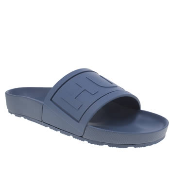 Mens Hunter Navy Original Logo Slide Sandals
