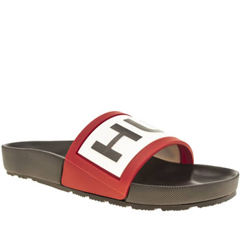 Mens Hunter Black & White Original Logo Slide Sandals