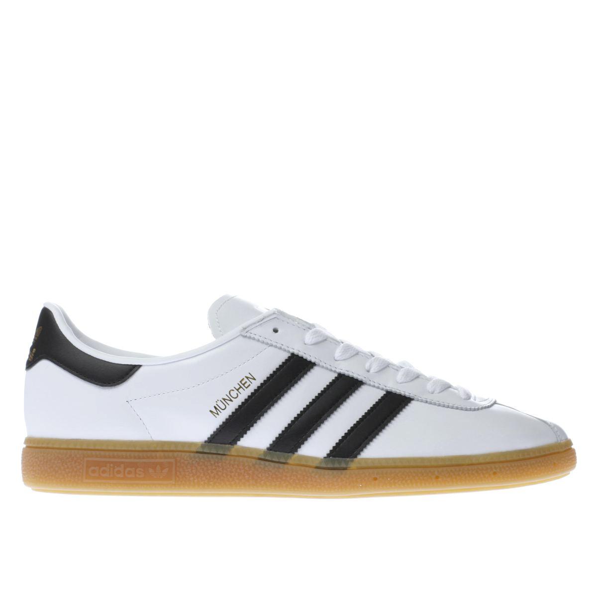 adidas white & black munchen trainers