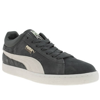 mens puma dark grey stepper classic trainers