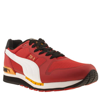 mens puma red tx-3 infused trainers