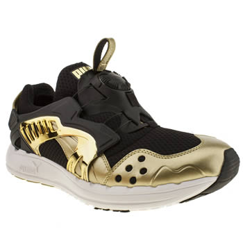 mens puma black & gold future disc opulence trainers