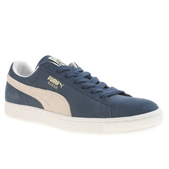mens puma navy & white suede classic trainers