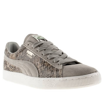 mens puma light grey suede classic snakeskin trainers