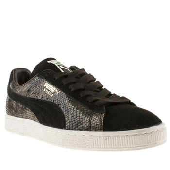 Mens Puma Black Suede Classic Snakeskin Trainers