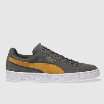 mens puma dark grey suede classic trainers