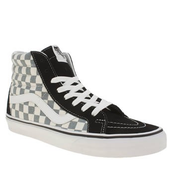 Vans Black and blue Checkerboard Sk8 Hi Reissue Trainers