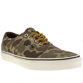 mens vans khaki authentic bright waxed canvas trainers