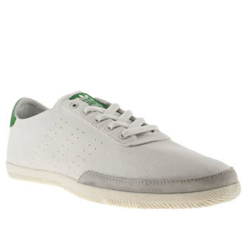 Mens Adidas White & Green Plimsole 3 Trainers