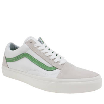 Vans White & Green Vintage Sport Old Skool Trainers
