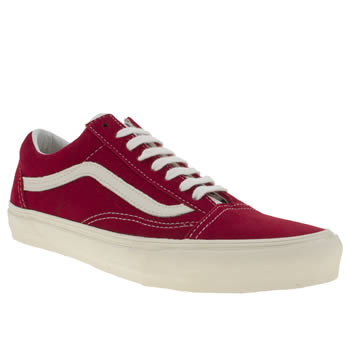 mens vans red old skool trainers
