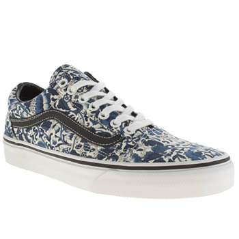 mens vans white & blue old skool liberty trainers