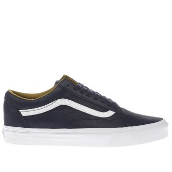 Vans Navy Old Skool Premium Leather Mens Trainers