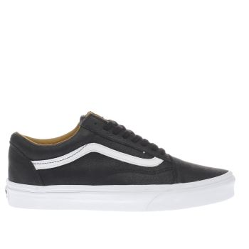 Vans Black Old Skool Premium Leather Mens Trainers