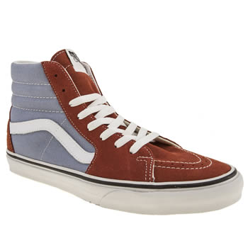 mens vans brown & pl blue sk8-hi trainers